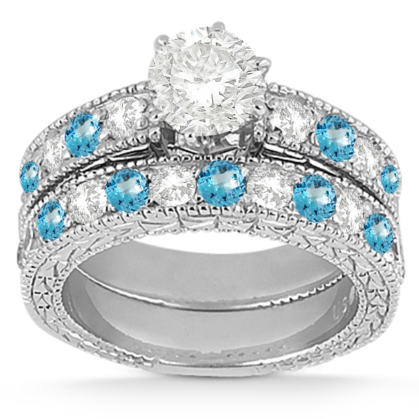 Antique Diamond & Blue Topaz Bridal Set 18k White Gold (1.80ct)
