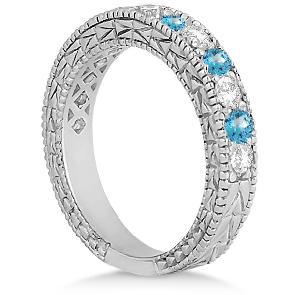 Antique Diamond & Blue Topaz Wedding Ring 14kt White Gold (1.05ct)