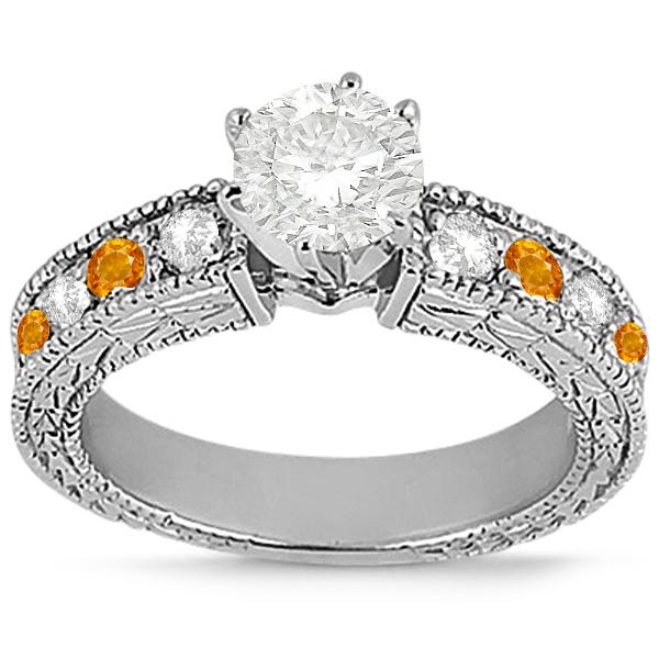 Antique Diamond & Citrine Engagement Ring 14k White Gold (0.75ct)