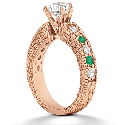 Antique Diamond & Emerald Engagement Ring 14k Rose Gold (0.72ct)