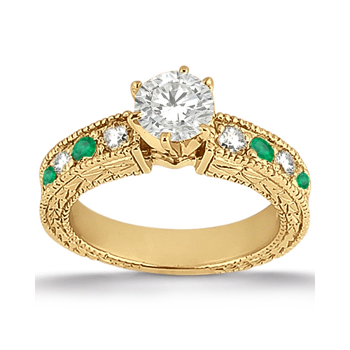 Antique Diamond & Emerald Engagement Ring 14k Yellow Gold (0.72ct)