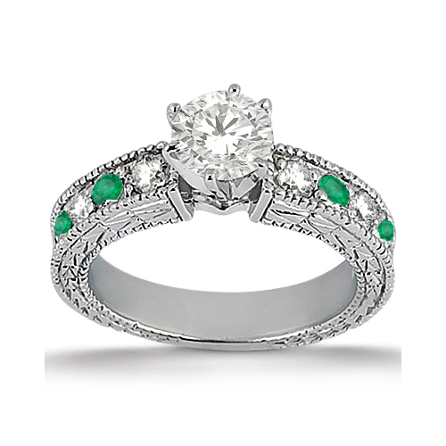 Antique Diamond & Emerald Engagement Ring 18k White Gold (0.72ct)