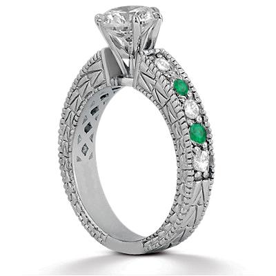 Emerald & Diamond Vintage Engagement Ring 14k White Gold (1.50ct)