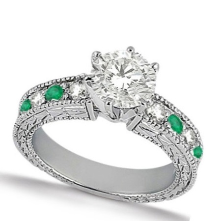 Emerald & Diamond Vintage Engagement Ring 14k White Gold (1.75ct)