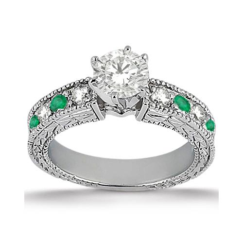 Antique Diamond & Emerald Engagement Ring Platinum (0.72ct)