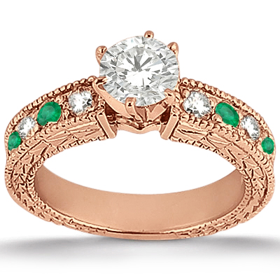 Antique Diamond & Emerald Bridal Set 14k Rose Gold (1.75ct)