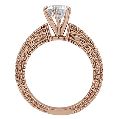 Antique Diamond & Emerald Bridal Set 14k Rose Gold (1.75ct)
