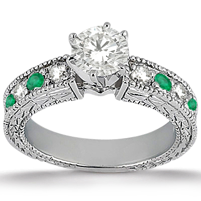 Antique Diamond & Emerald Bridal Set 14k White Gold (1.75ct)
