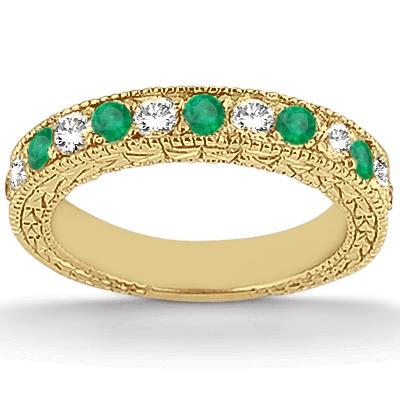 Antique Diamond & Emerald Bridal Set 14k Yellow Gold (1.75ct)