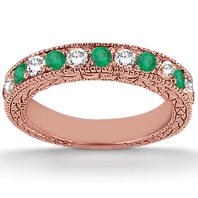 Antique Diamond & Emerald Bridal Set 18k Rose Gold (1.75ct)
