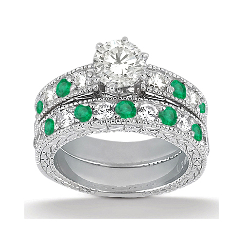 Antique Diamond & Emerald Bridal Set 18k White Gold (1.75ct)