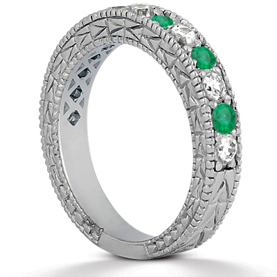 Diamond & Genuine Emerald Vintage Bridal Set 14k White Gold (2.80ct)