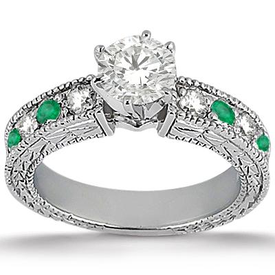 Antique Diamond & Emerald Bridal Set Platinum (1.75ct)