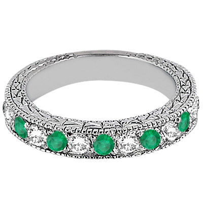 Antique Diamond & Emerald Wedding Ring 18kt White Gold (1.03ct)