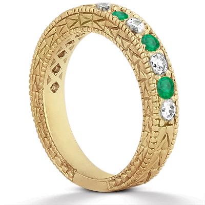 Antique Diamond & Emerald Wedding Ring 18kt Yellow Gold (1.03ct)