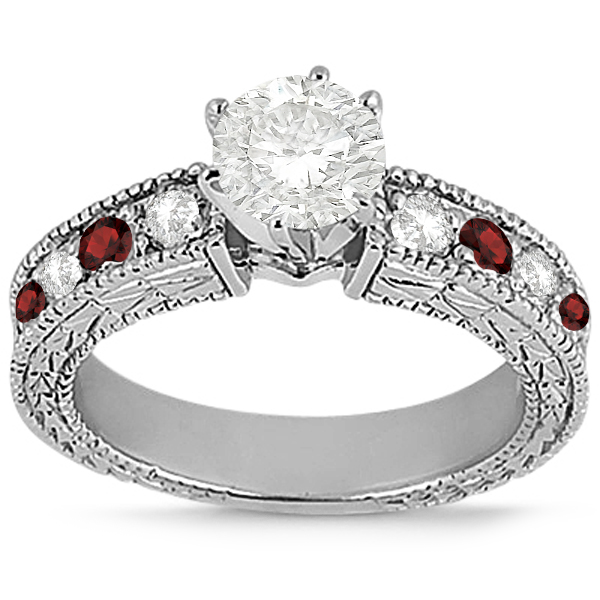 Antique Diamond & Garnet Engagement Ring Platinum (0.75ct)
