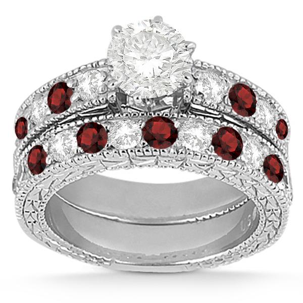 Antique Diamond & Garnet Bridal Set 18k White Gold (1.80ct)