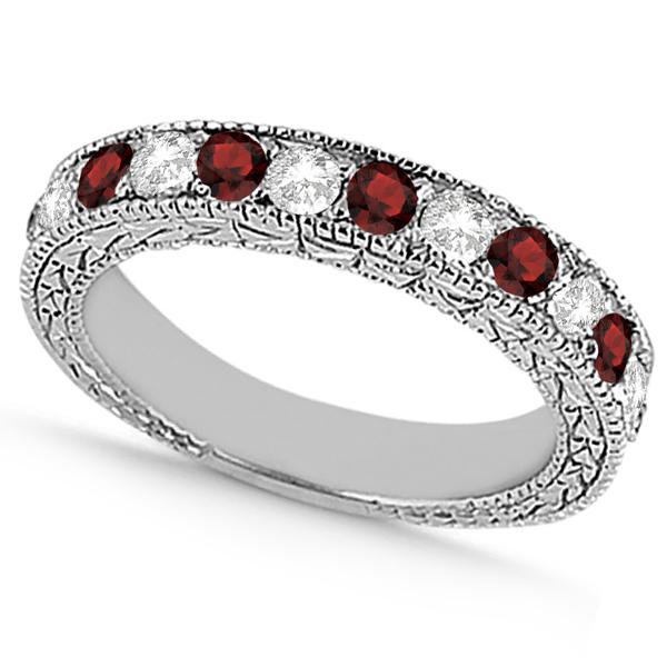 Antique Diamond & Garnet Wedding Ring 14kt White Gold (1.05ct)