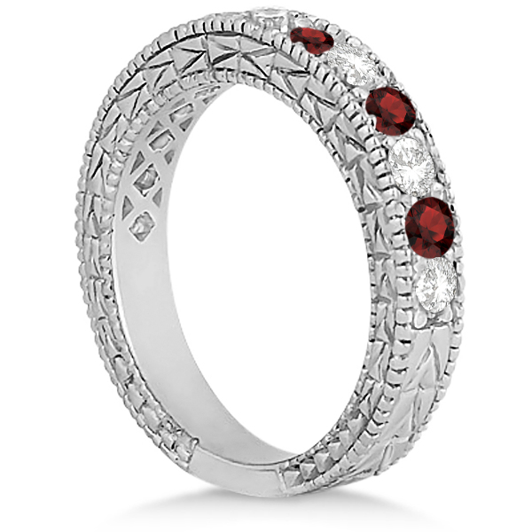 Antique Diamond & Garnet Wedding Ring Platinum (1.05ct)