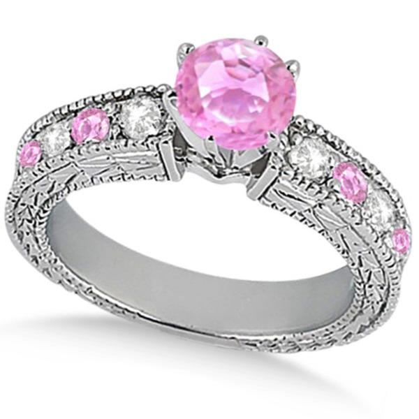 Diamond & Pink Sapphire Vintage Engagement Ring in 14k White Gold (1.75ct)