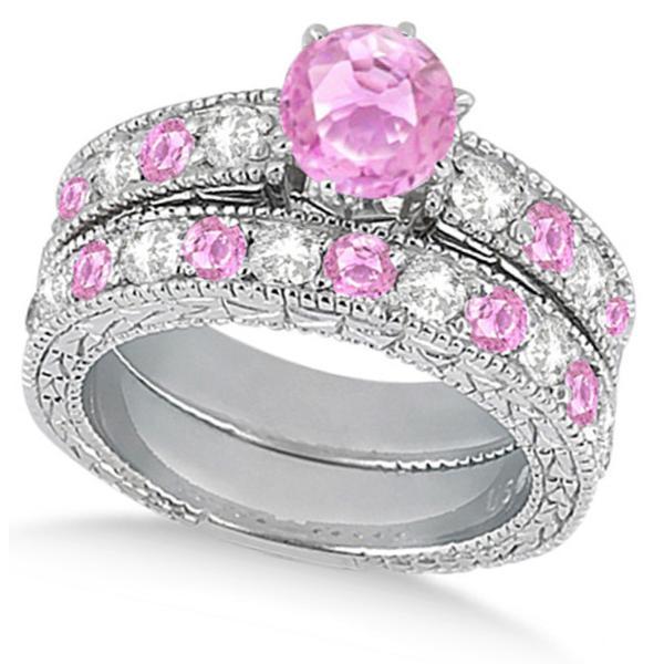 Diamond & Pink Sapphire Vintage Wedding Bridal Set in 14k White Gold (2.80ct)