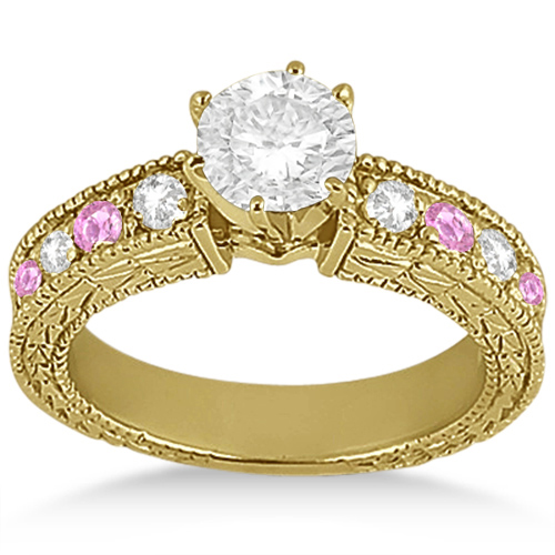 Antique Diamond & Pink Sapphire Engagement Ring 14k Yellow Gold (0.75ct)