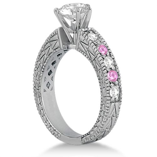Antique Diamond & Pink Sapphire Engagement Ring Platinum (0.75ct)