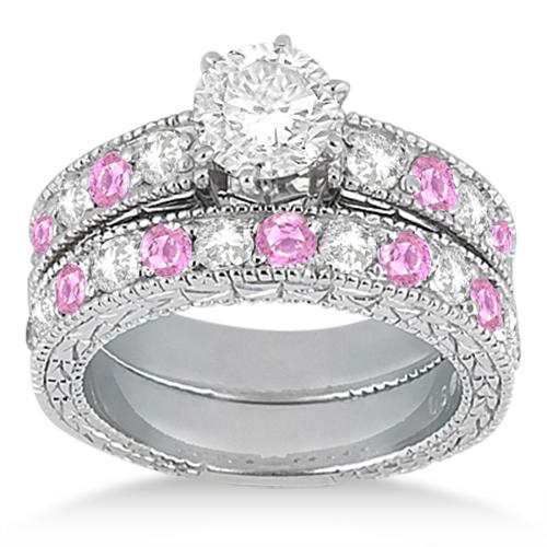 Antique Diamond & Pink Sapphire Bridal Set 14k White Gold (1.80ct)