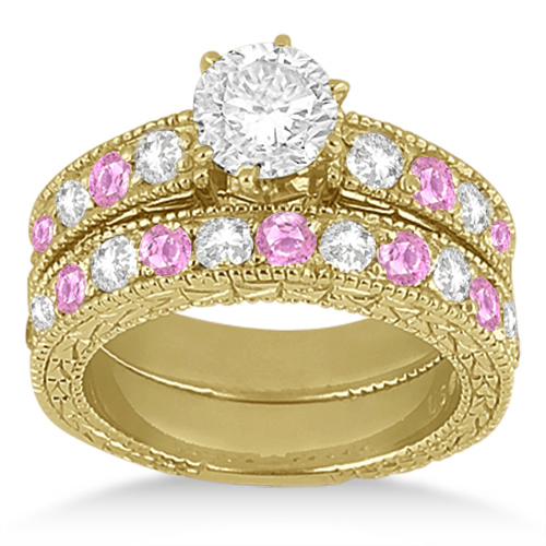 Antique Diamond & Pink Sapphire Bridal Set 14k Yellow Gold (1.80ct)