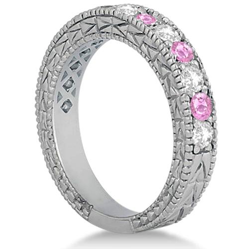 Antique Diamond & Pink Sapphire Bridal Set 18k White Gold (1.80ct)