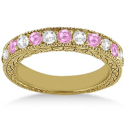 Antique Diamond & Pink Sapphire Bridal Set 18k Yellow Gold (1.80ct)