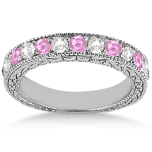 Antique Diamond & Pink Sapphire Bridal Set Palladium (1.80ct)