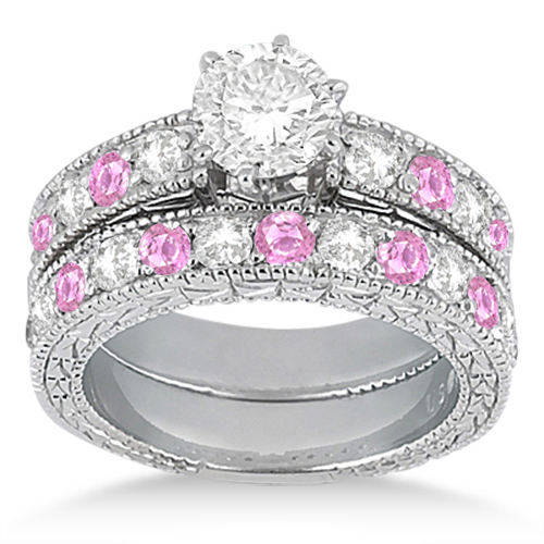 Antique Diamond & Pink Sapphire Bridal Set Platinum (1.80ct)