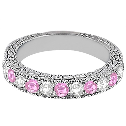 Antique Pink Sapphire and Diamond Wedding Ring 14kt White Gold (1.05ct)