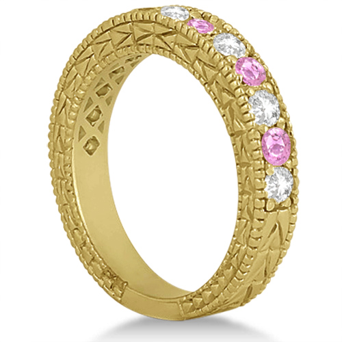 Antique Pink Sapphire and Diamond Wedding Ring 18kt Yellow Gold (1.05ct)