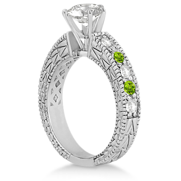 Antique Diamond & Peridot Engagement Ring 14k White Gold (0.75ct)