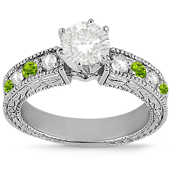 Antique Diamond & Peridot Engagement Ring Palladium (0.75ct)