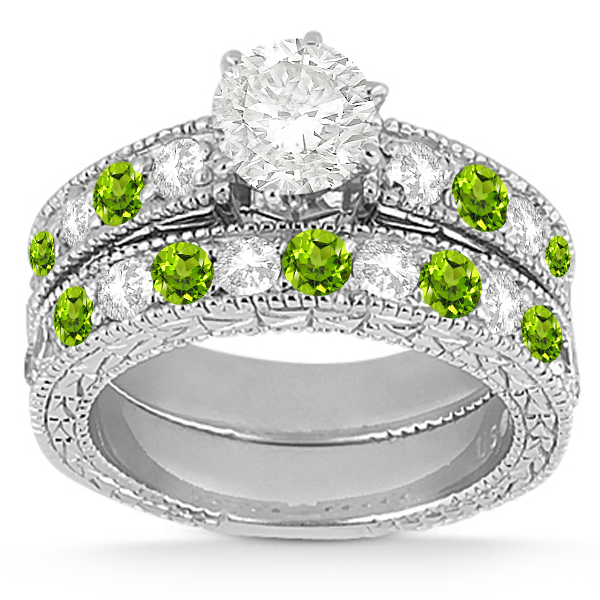 Antique Diamond & Peridot Bridal Set Platinum (1.80ct)