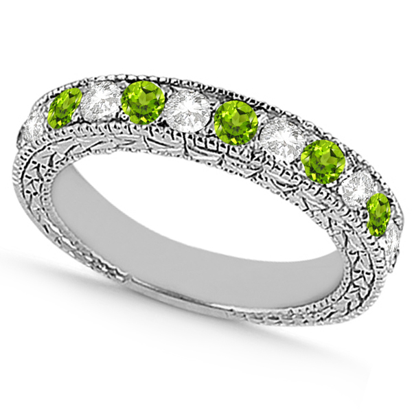 Antique Diamond & Peridot Wedding Ring 14kt White Gold (1.05ct)