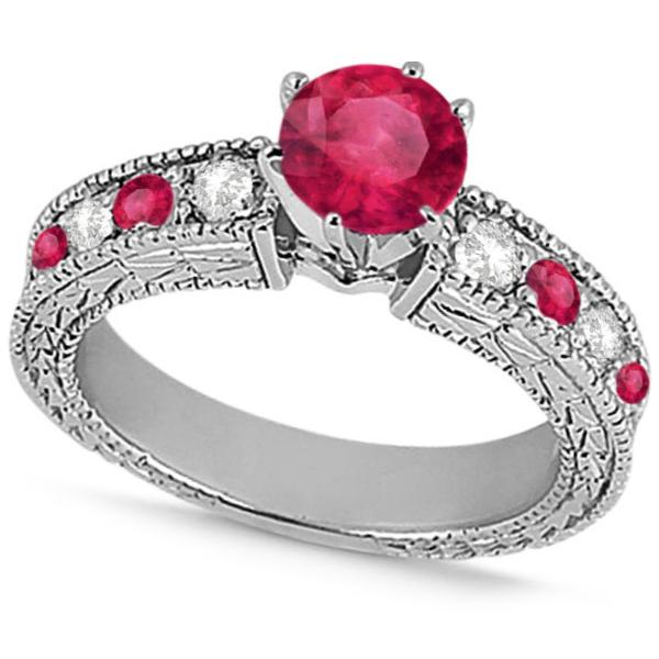 Diamond & Ruby Vintage Engagement Ring in 14k White Gold (1.75ct)