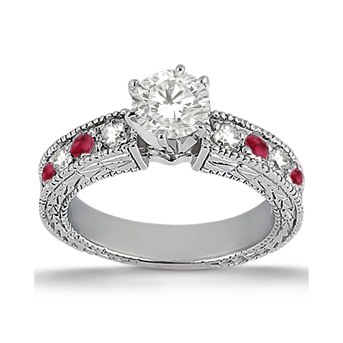 Antique Diamond & Ruby Engagement Ring 14k White Gold (0.75ct)