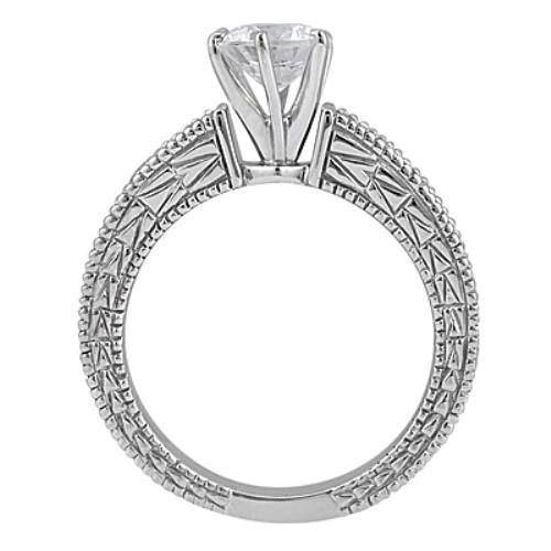 Antique Diamond & Ruby Engagement Ring 18k White Gold (0.75ct)