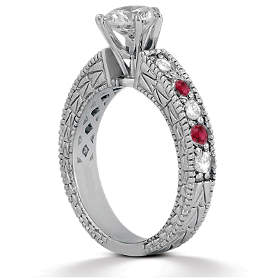 Antique Diamond & Ruby Engagement Ring 18k White Gold (0.75ct)