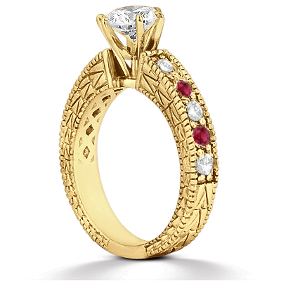 Antique Diamond & Ruby Engagement Ring 18k Yellow Gold (0.75ct)
