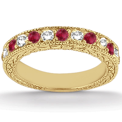 Antique Diamond & Ruby Bridal Set 14k Yellow Gold (1.80ct)