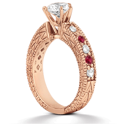 Antique Diamond & Ruby Bridal Set 18k Rose Gold (1.80ct)