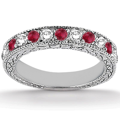 Antique Diamond & Ruby Bridal Set Palladium (1.80ct)