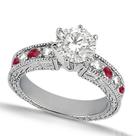 Diamond & Genuine Ruby Vintage Bridal Set 14k White Gold (2.50ct)