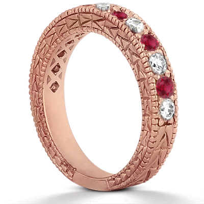Antique Diamond & Ruby Wedding Ring 18kt Rose Gold (1.05ct)