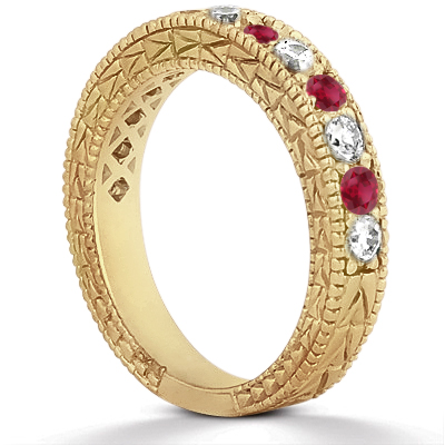 Antique Diamond & Ruby Wedding Ring 18kt Yellow Gold (1.05ct)